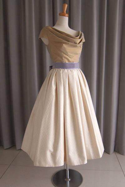 3枚目 olive silk taffeta top&silk jacquard mide dress