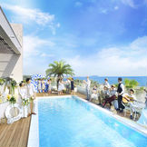 江の島や烏帽子岩など湘南の名所を望み、サザンビーチを見下ろす開放的なプール付きウッドデッキガーデンを貸切に。
