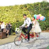 ガーデンならでは!2人乗り自転車で入場!
