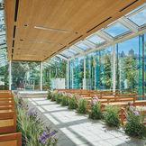 ガラス張りのデザインにナチュラルなウッド調が柔らかな雰囲気を演出