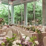 緑の合間から降り注ぐ木漏れ日が、優しい雰囲気 緑の美しさを活かしたテーブルコーディネートも