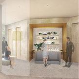 定禅寺通り沿いの新チャペルには、外光が入る明るい控室が