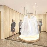 定禅寺通り沿いの新チャペルには、モダンな雰囲気のドレスルームに