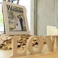 統一感のある会場インテリアは、結婚式当日もそのまま使えるのが嬉しい