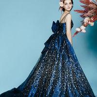 ラピス ドレス全体に施されたグリッターの装飾が、まるで夜空に輝く星々のように美しいドレス。透け感が絶妙なオーガンのショルダー部分は取り外しが可能。腰元には縦型の大きなリボンがつくことで、バックスタイルも魅力的です。