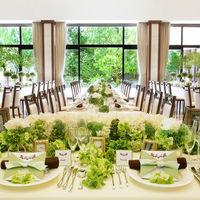 【パーティ会場】大きな窓から、豊かな緑とあふれるほどの光が差し込む明るい会場
