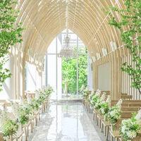 高い天井にアーチを描く繊細なホワイトウッドと、窓からの自然光が木漏れ日のように心地よい空間