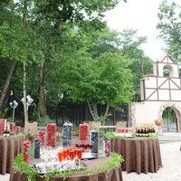 パーティ会場に面した木々に囲まれたガーデンで デザートブッフェも可能