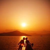 呉の海でロケーション撮影♪サンセットの雰囲気も素敵♪