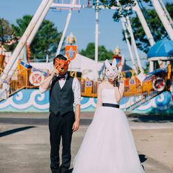 動物園 お面 しーちゃんの前撮り ロケーションフォト 熊本 ウェディングドレス