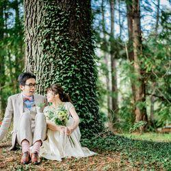 ロケーション 京都前撮り 洋装 洋装持ち込み ドレス ウェディングドレス weddingdress ドレス持ち込み ロケフォト UmoreWedding ユーモアウェディング 森 緑 木