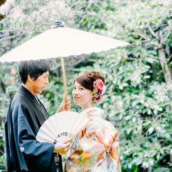 和装 色打掛 紋付袴 扇子 番傘 ロケーション 庭園 緑