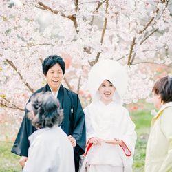 和装 白無垢 紋付袴 ロケーション 桜 庭園 綿帽子