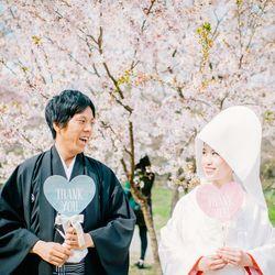 和装 白無垢 紋付袴 ロケーション 桜 庭園 綿帽子 フォトプロップス