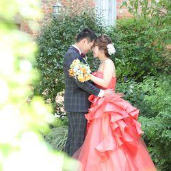 ドレス ロケーション カラードレス 庭園 タキシード おでこコツンポーズ