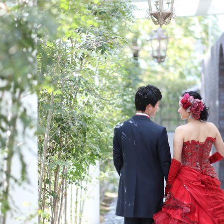 ドレス カラードレス タキシード ロケーション フォトウェディング 庭園 緑