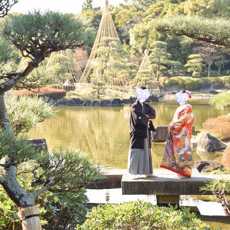 和装 ロケーション 見浜園 華雅苑 色打掛 庭園 紋付袴 池