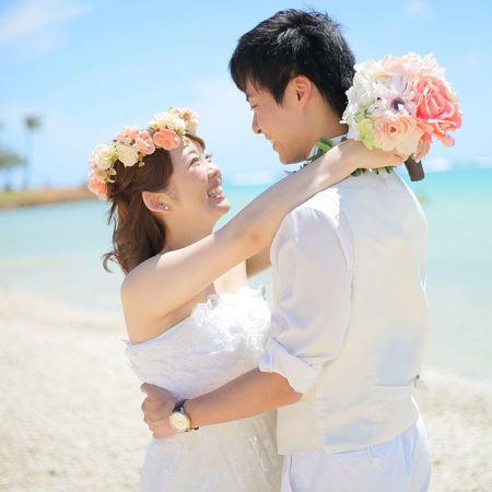 ハワイ ビーチ 海 空 ドレス ウェディングドレス 花かんむり
