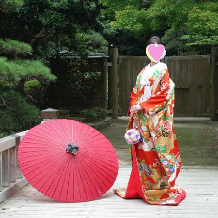 番傘 和装 ロケーション 色打掛 庭園 華雅苑 緑