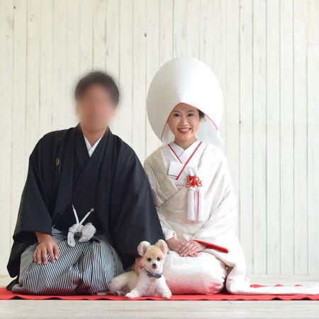 和装 白無垢 綿帽子 紋付袴 スタジオ ペットと一緒