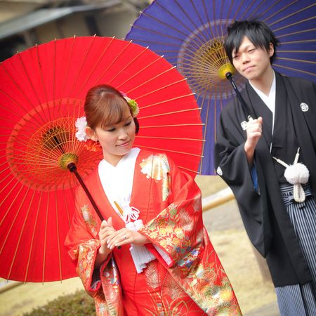 色打掛 番傘 和装 ロケーション 洋髪 紋付袴