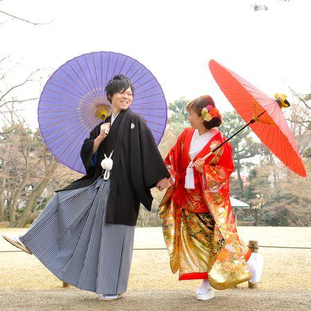 色打掛 和装 ロケーション 洋髪 番傘 庭園 紋付袴