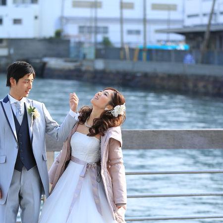 ロケーション 海 観光地 神戸 ドレス ウェディングドレス タキシード オフショット ハーバーランド