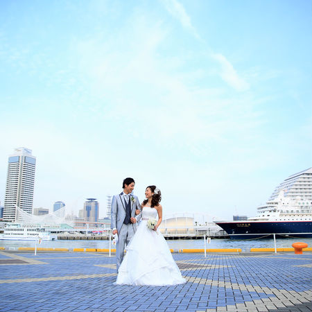 ロケーション 海 観光地 神戸 ドレス ウェディングドレス タキシード 神戸ポートタワー