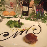 コース料理のフォアグラのお皿