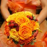 カラードレスと母お手製のブーケ