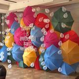 結婚式のテーマで傘を使いました。