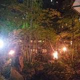 夜の中庭の雰囲気
