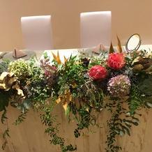 テーブルのお花。とてもおしゃれ!