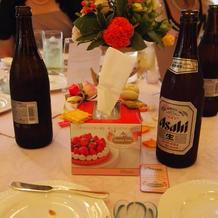披露宴中の机の上も華やかな印象です。