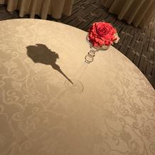 控え室の装花とテーブル
