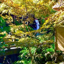 お庭での写真撮影