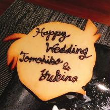 ケーキ上に飾ってあったコナン型クッキー