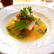 お魚料理。金目鯛でした。
