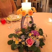 会場の雰囲気に合ったテーブル装花でした。