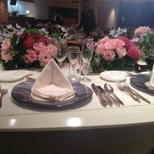 テーブル装花とナフキン