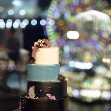 こだわりのケーキ。結婚式のテーマカラー。