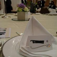 披露宴でのテーブル。