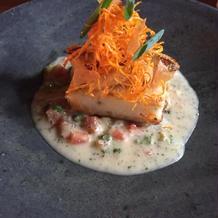 真鯛と白身魚のムースもろ味噌風味