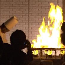 フランベで大きな炎が!