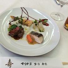 試食 魚と肉 メインは魚おいしい