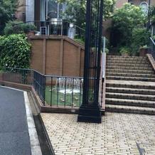 門の横に噴水があり水が出てます