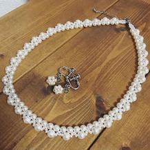 手作りのネックレスとイヤリング