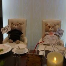 披露宴では、Tedの人形を使った演出!