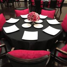 披露宴会場。テーブルコーディネート。