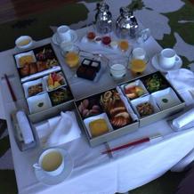 新郎新婦専用ヴィラでの朝食